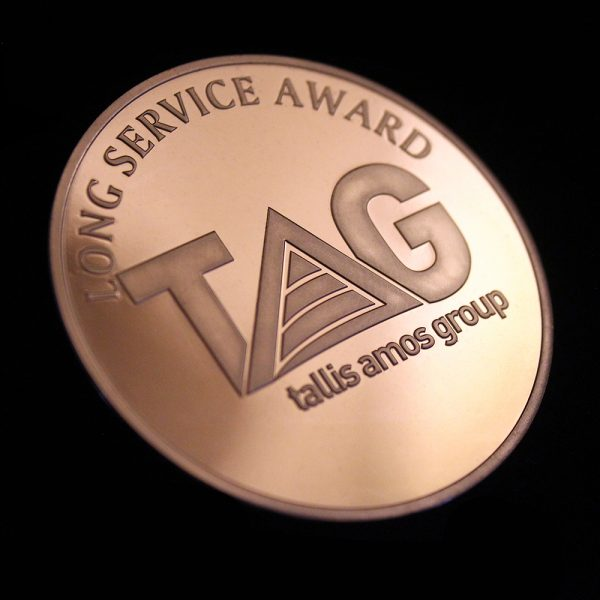 Close up of 50mm Bronze Semi-Proof Tallis Amos Group Medal for Long Service Award
