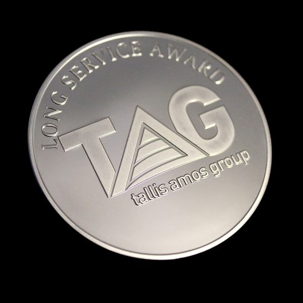 Close up of 50mm Silver Semi-Proof Tallis Amos Group Medal for Long Service Award