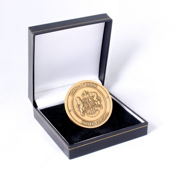 50mm Gold Antique Smooth Commemorative Coin In A Black Leatherette Case Board of Trade for APS Group in presentation box