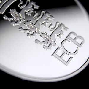 Close up of the front of the England and Wales Cricket Board Commemorative Coins