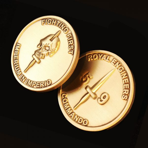 Close up of reverse and obverse of 38mm Gold Antique Smooth Commemorative Coin Fighting First for 59 Independent Commando Squadron Royal Engineers