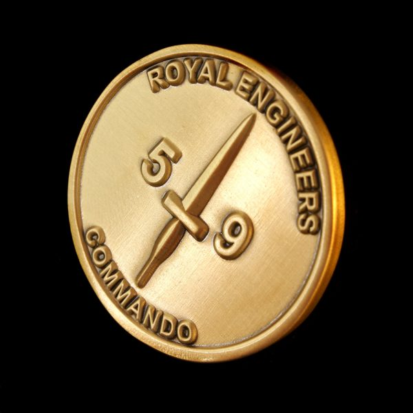 Close up of 38mm Gold Antique Smooth Commemorative Coin Fighting First for 59 Independent Commando Squadron Royal Engineers 2