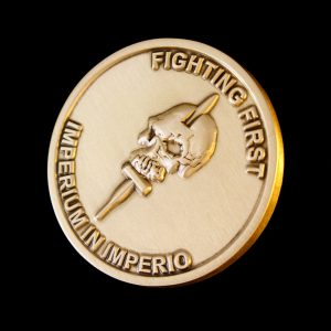 Close up of 38mm Gold Antique Smooth Commemorative Coin Fighting First for 59 Independent Commando Squadron Royal Engineers