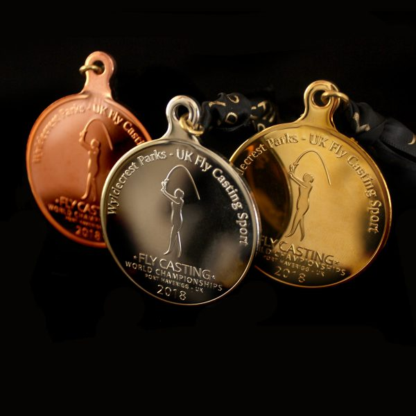 Close up of Gold Silver and Bronze Fly Casting World Championships 2018 Sports Pendant