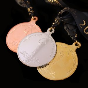 Close up of Gold Silver and Bronze Fly Casting World Championships 2018 Sports Pendant lay flat