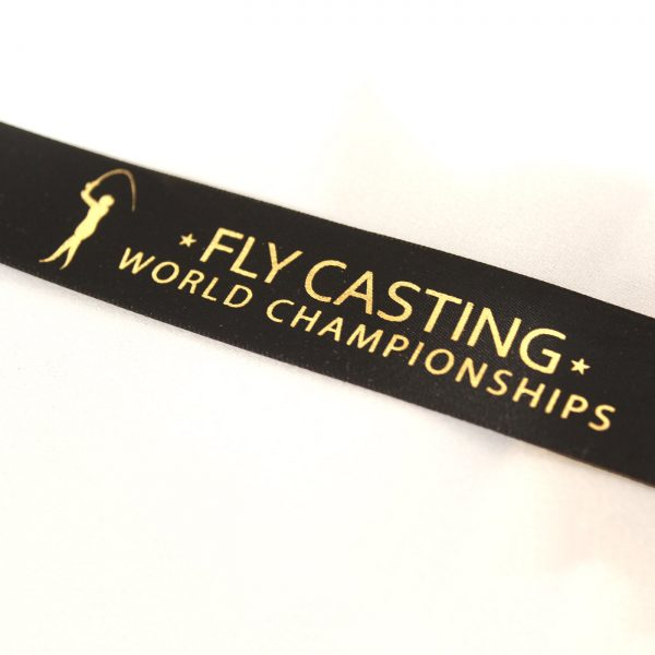 Close up of Fly Casting World Championships 2018 Sports Pendant Ribbon