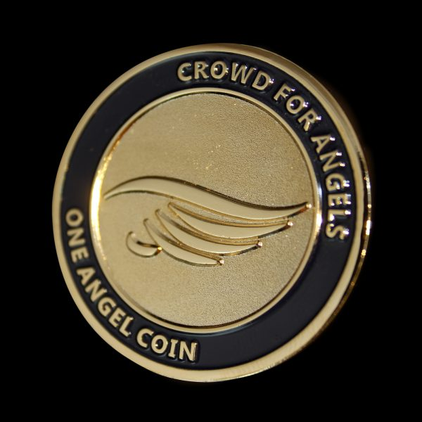 38mm Gold Frosted Colour Angel Commemorative Coin Obverse for Crowd for Angels Limited