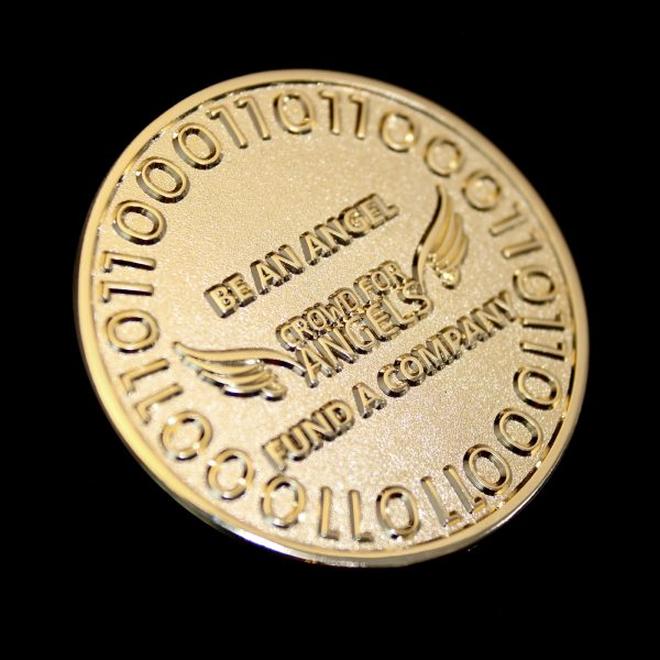 38mm Angel Commemorative Coin - Gold Frosted Colour - One Angel Coin for Crowd for Angels Limited Rev